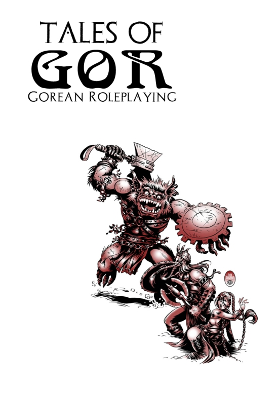 Cover mockup of Gorean RPG, showing a hairy humanoid creature about to attack an armed man, with a chained woman behind him