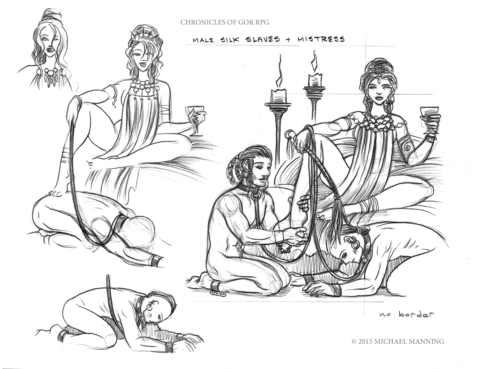 Study sketch of dominant woman lounging with two naked male slaves in attendance.