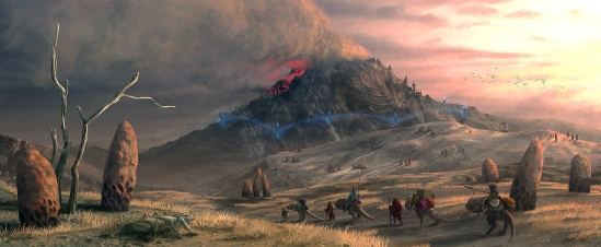 mountains landscapes rocks fantasy art the elder scrolls caravan the elder scrolls iii morrowind_www.artwallpaperhi.com_78
